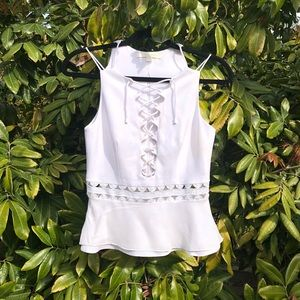 Jonathan simkhai white lace up trim tank top
